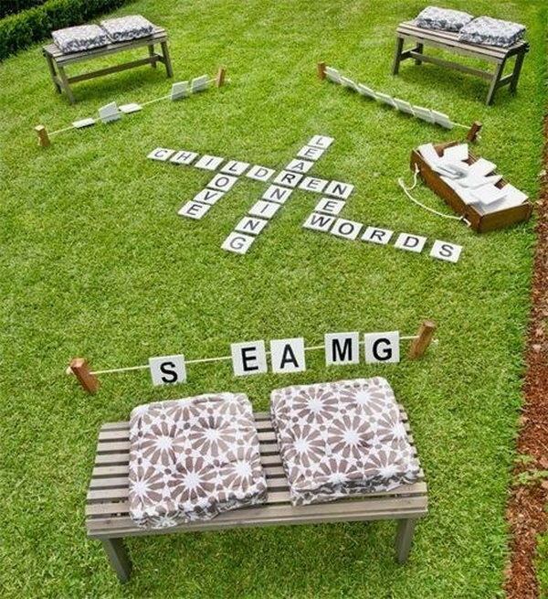 make an outdoor word game in your backyard