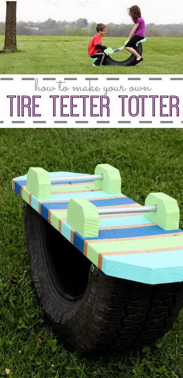 Tire Teeter Totter Made From Old Tire