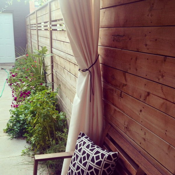 budget friendly DIY outdoor drape for summer