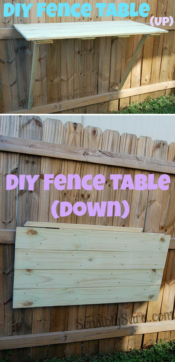 Space Saving DIY Fence Table