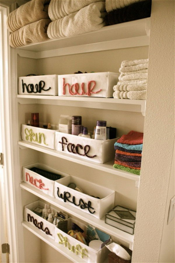 DIY Bathroom Organization with Yarn Labeling
