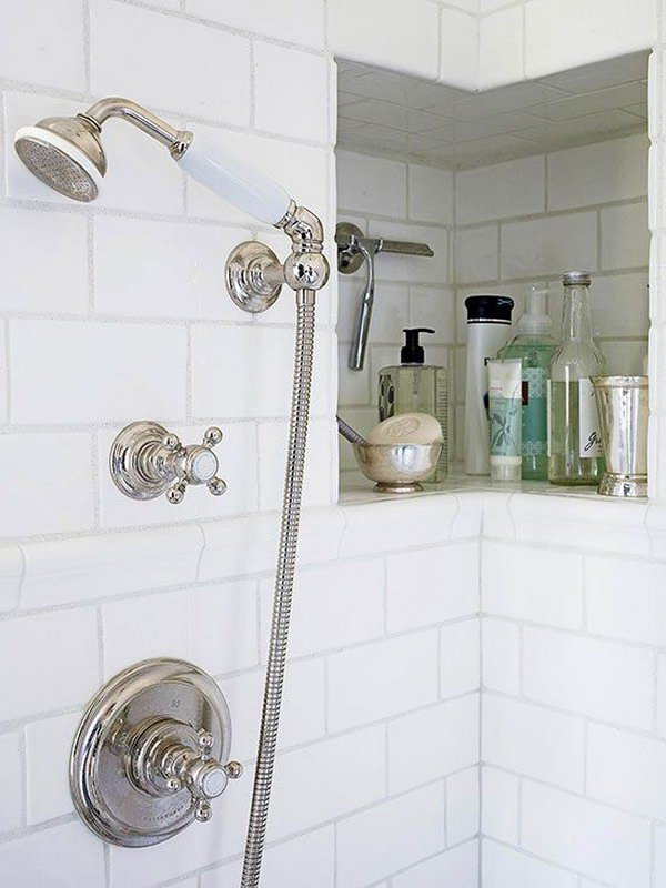 Utilize Space In a Bathroom Corner for Storage