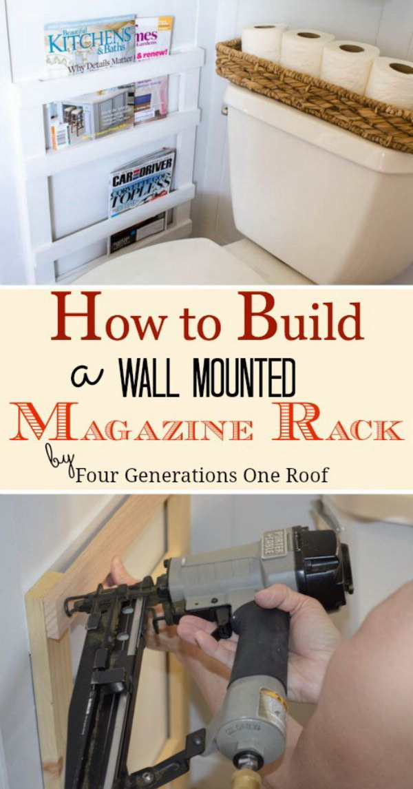 DIY Wall Mounted Magazine Rack for Bathroom