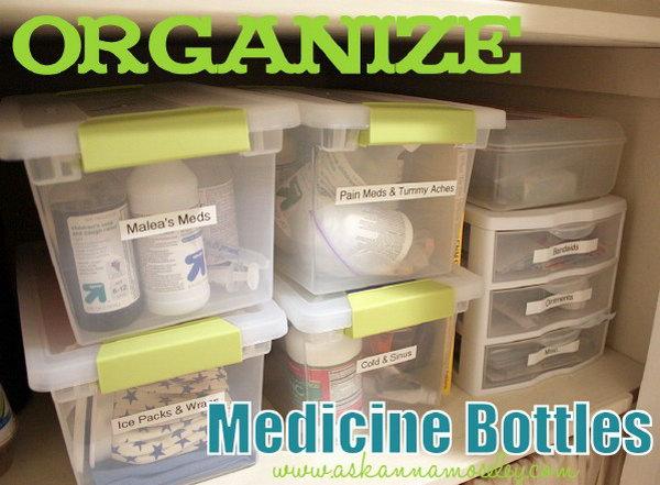 Easy way to Organize Medicine Bottles