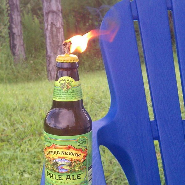 Glass Beer Bottle Tiki Torch for Backyard Barbecue