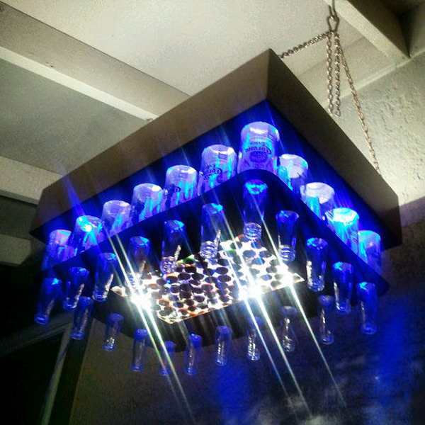 Aluminum Copper Colored Beer Bottle LED Light Chandelier