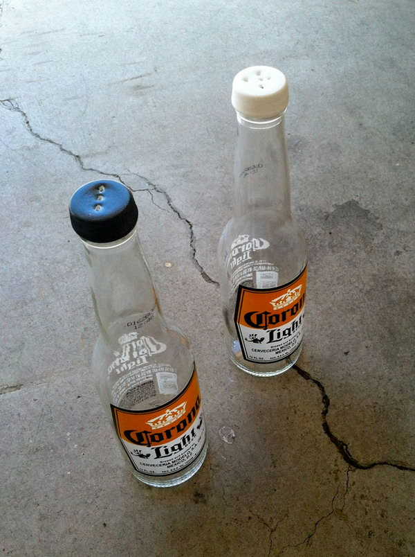 DIY Beer Bottle Salt and Pepper Shaker