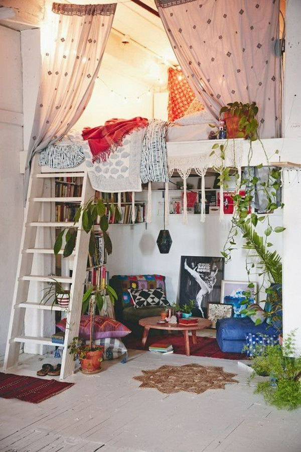 Bohemian Bedroom With Loft Bed For Small Room