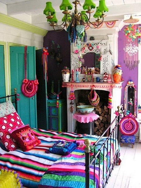 Gypsy Chic Bedroom With So Much Color And Chandeliers