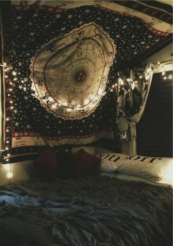 Bohemian Bedroom With Magic Star Signs Big Blankets On Wall