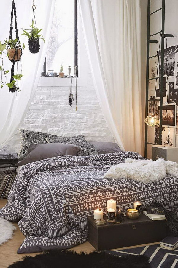 Bohemian Bedroom With Macrame Hanging Plants
