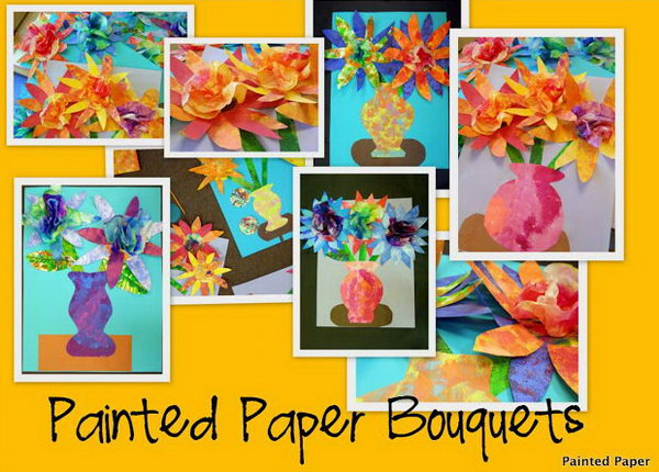 Painted Paper Bouquets With Coffee Filter Centers