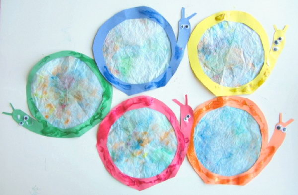 Coffee Filter Snail Crafts For Kids