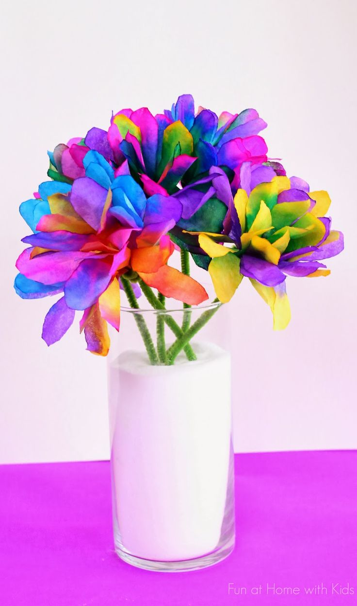 Vibrantly Colored Coffee Filter Flowers For Kids