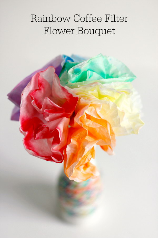 Rainbow Coffee Filter Flower Bouquet