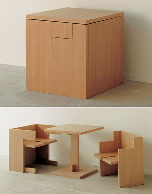 Compact Table And Chairs That Can Be Integrated Seamlessly