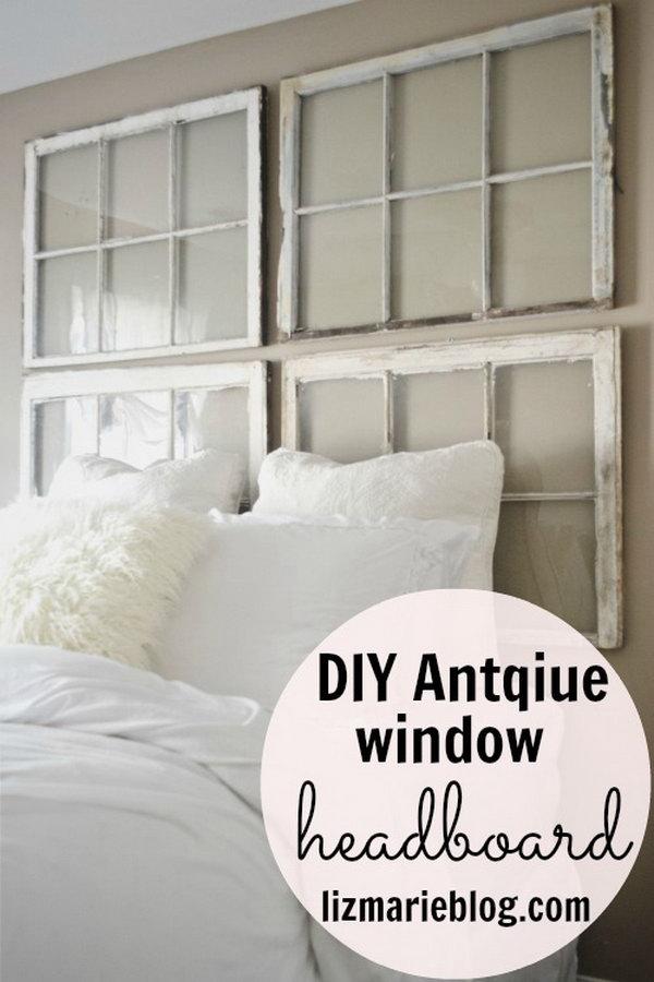 DIY Antique Window Headboard