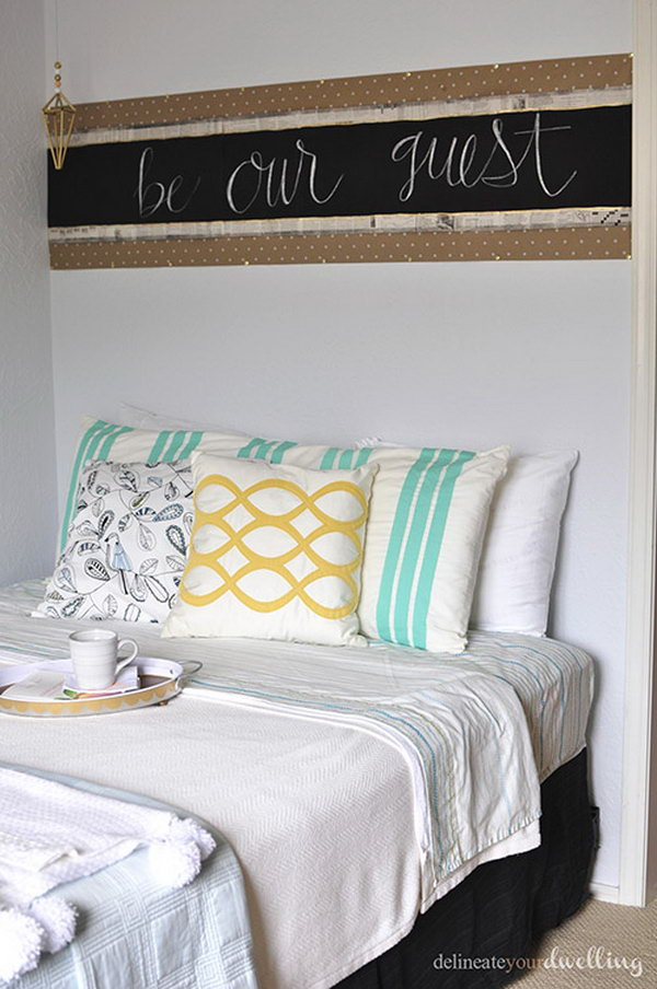 Newspaper Chalkboard Headboard with Easy Tutorial