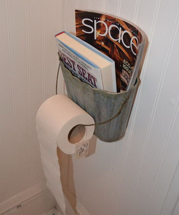 Use a Metal Basket as a Magazine and Toilet Paper Holder