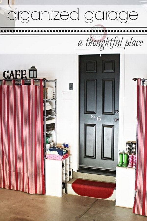 Use Tab Curtains To Cover Up Unsightly Wire Shelves