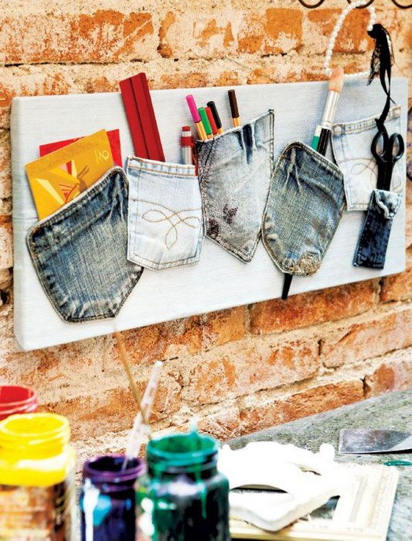 Create a Jean Pocket Memo Board for Home Office Organization