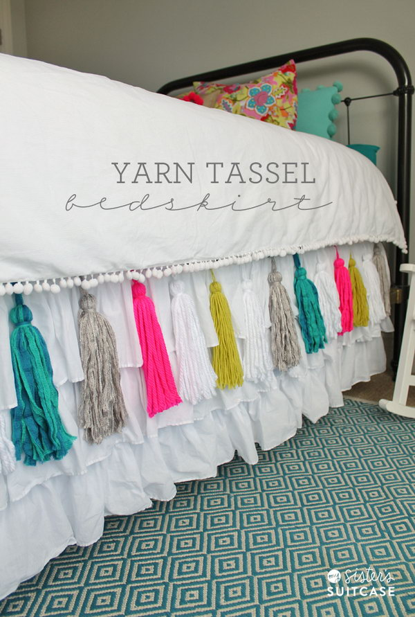 Update A Lgirl's Bedroom With This DIY Yarn Tassel Bed Skirt