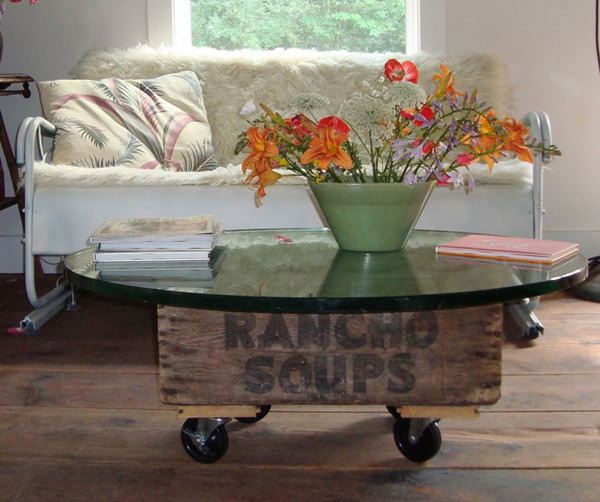 Create a Movable Vintage Coffee Table With An Old Crate