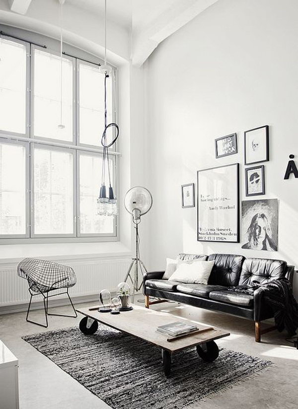 Grey Industrial Living Rooms