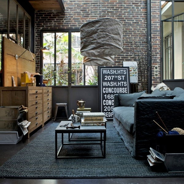 Cool Industrial Living Room Idea
