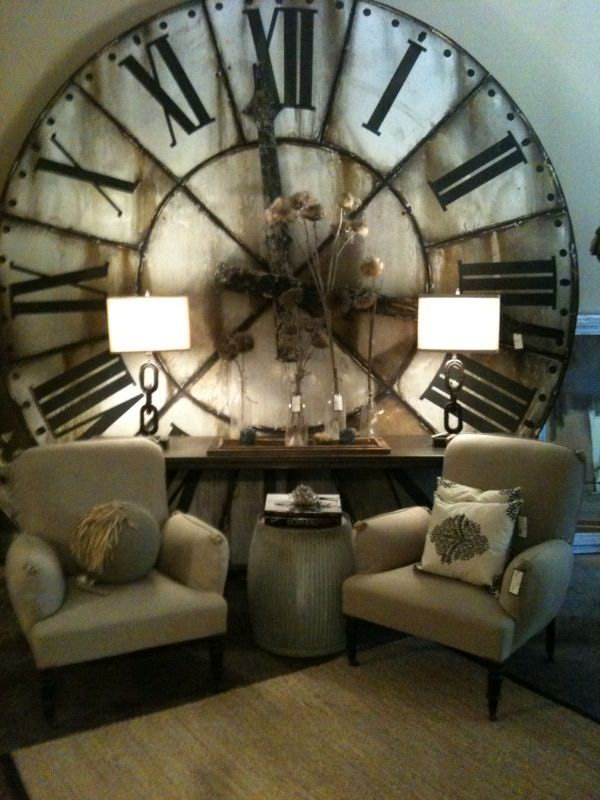 Industrial Living Room Decorated With Oversized Floor Wall Clock
