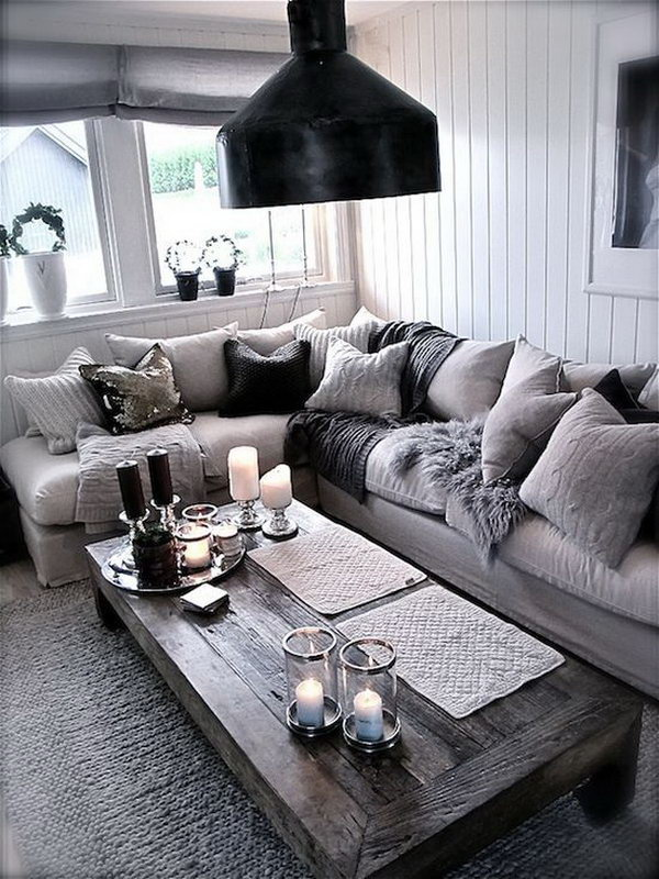 Industrial Living Room With Rustic Coffee Table