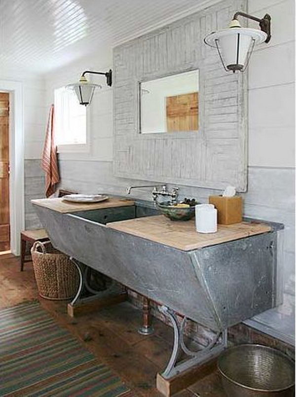Using an Old Trough as a Bathroom Sink