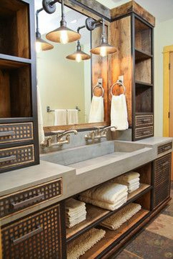 Industrial Bathroom With Concrete Sink And Custom Vanity