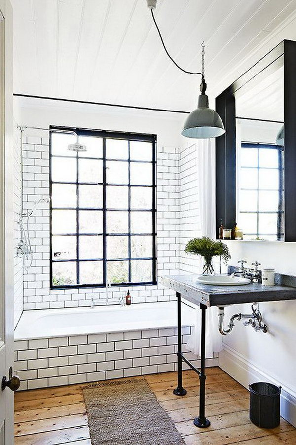 Industrial Vintage Bathroom With Custom Desk