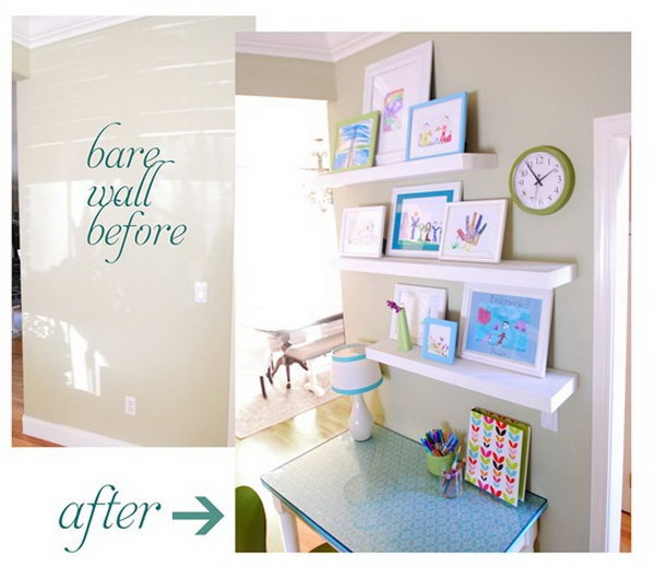 Kids Desk In Hallway With Display Shelves