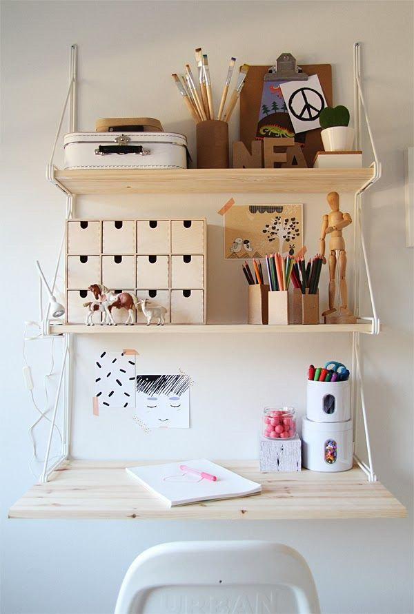 Kids Work Space Turned From IKEA Shelf