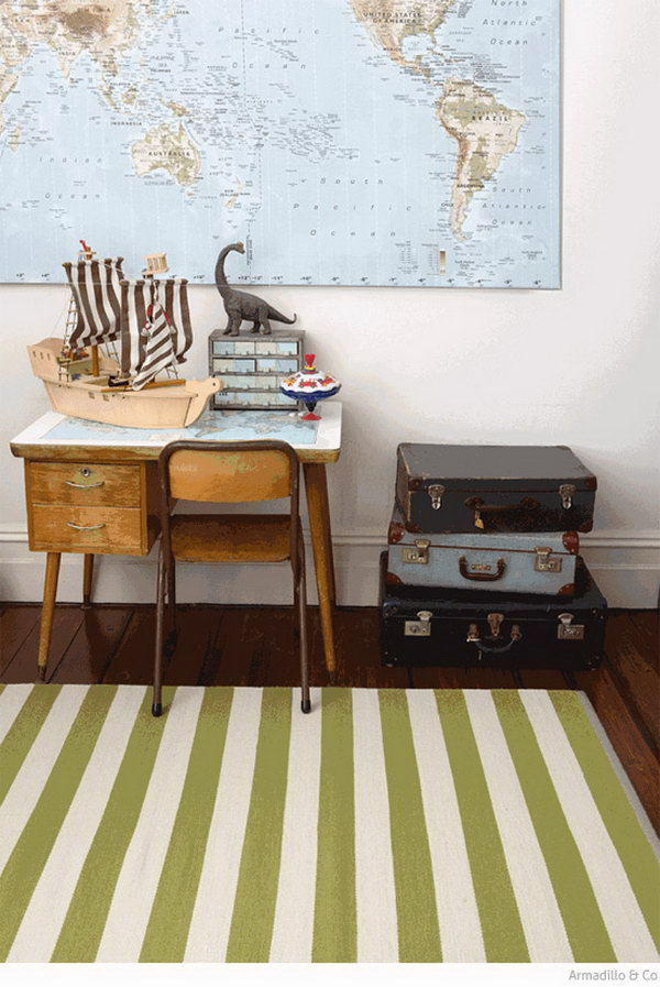 Rustic Kids Desk With Maps And Vintage Suitcases
