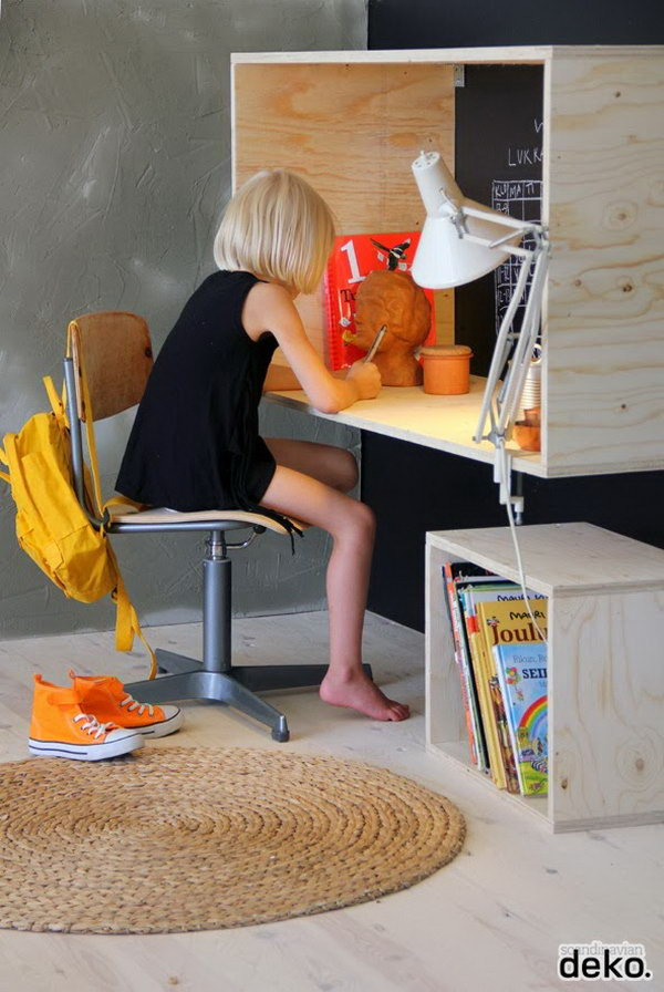 Use Wall Hanging Box As A Kids Desk