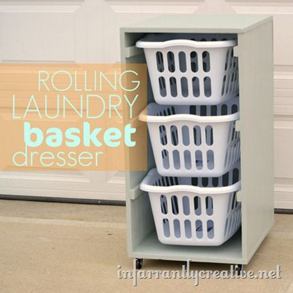 Rolling Laundry Basket Dresser with Instructions