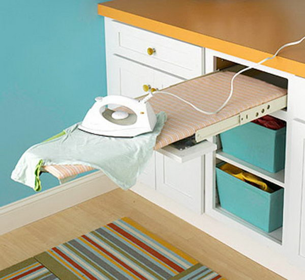Add a pull out ironing board in the laundry room to saves floor space