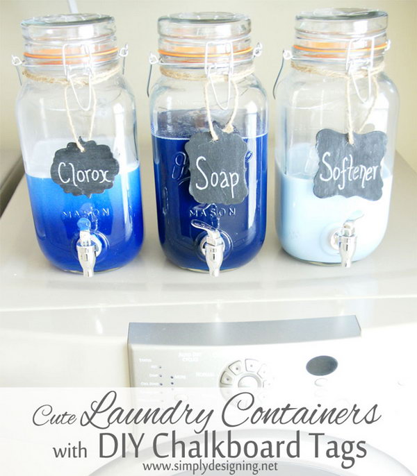 Mason Jar Laundry Container with DIY Chalkboard Tags