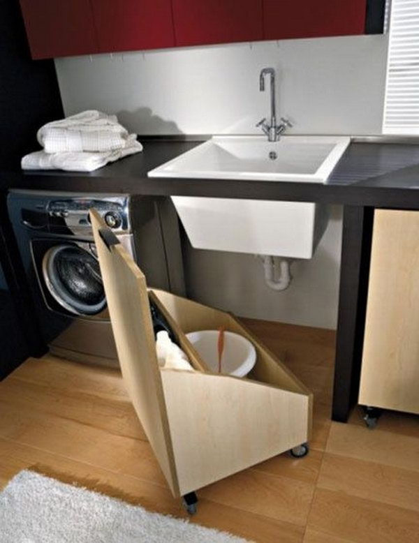 Under the Sink Storage in Laundry Room