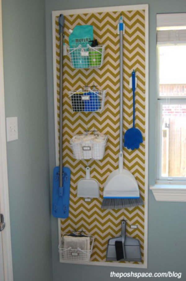 Pegboard Storage for Laundry Room