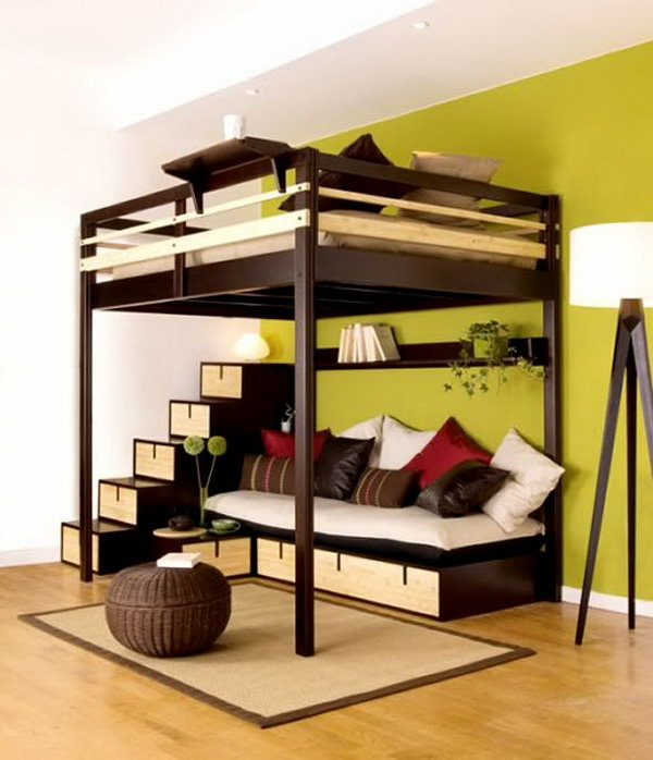 Queen sized bunk bed with couch underneath