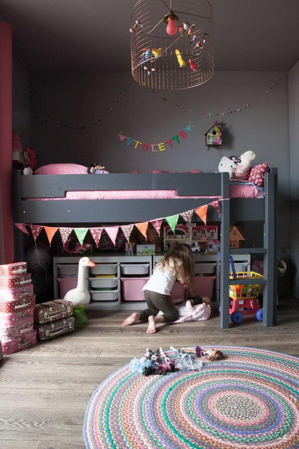 Girl Loft Bed With Storage Underneath