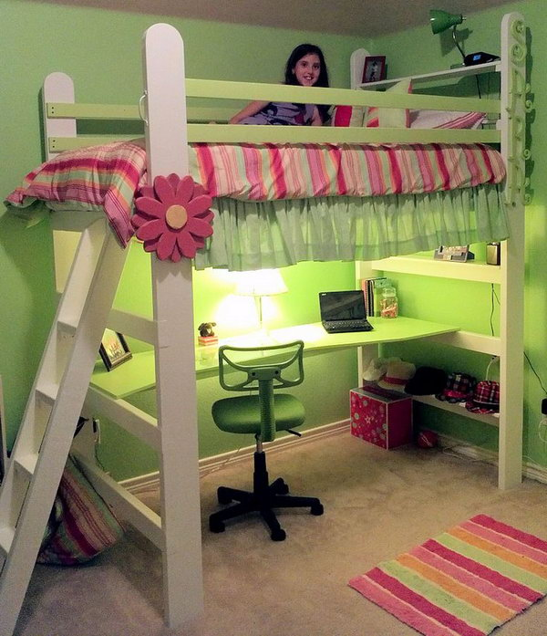 Green Loft Bed For Girl