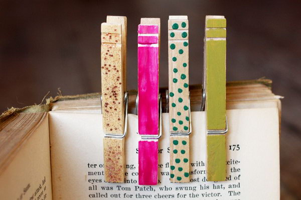 Use nail polish to paint some wood clothes pins