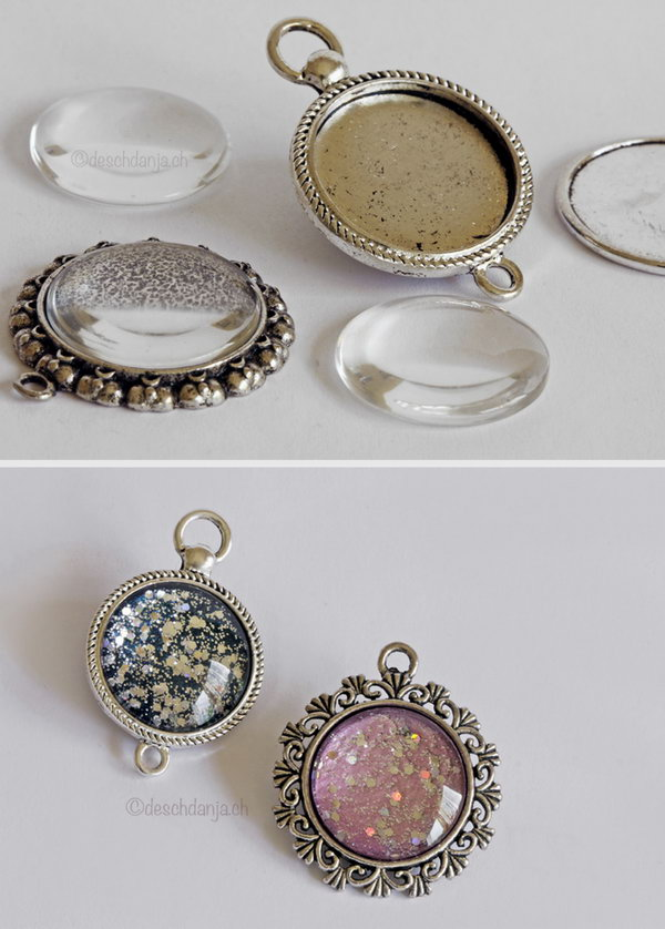 Create Individual Nail Polish Pendants with Nail Polish and Glitter