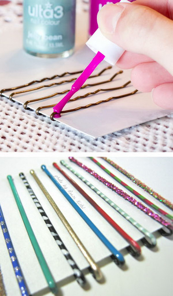 Use Nail Polish to Paint Bobby Pins for Extra Glamor
