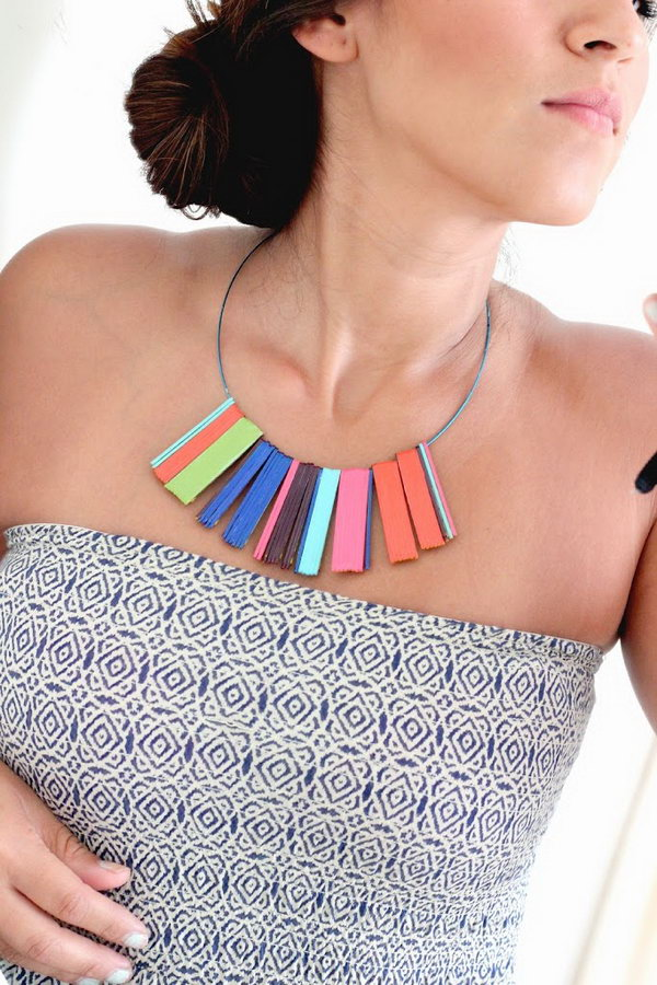 DIY Beautiful Statement Necklace with Variety of Nail Polish Colors and Bobby Pins
